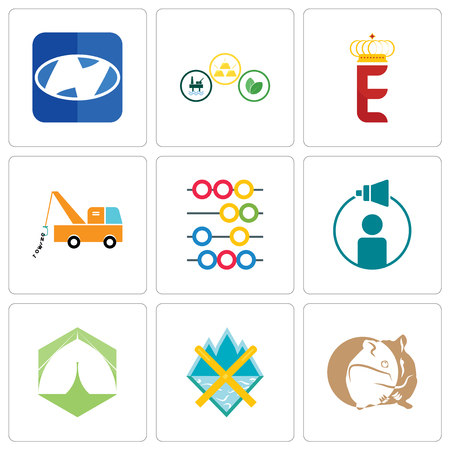 Set Of 9 simple editable icons such as hamster, crossed skis, marquee, campaign management, abacus, tow truck, e crown, commodities, h, can be used for mobile, web