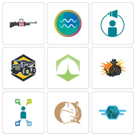 Set Of 9 simple editable icons such as semi truck, hamster, campaign management, outlaw, marquee, dump aquarius, gun shop, can be used for mobile, web