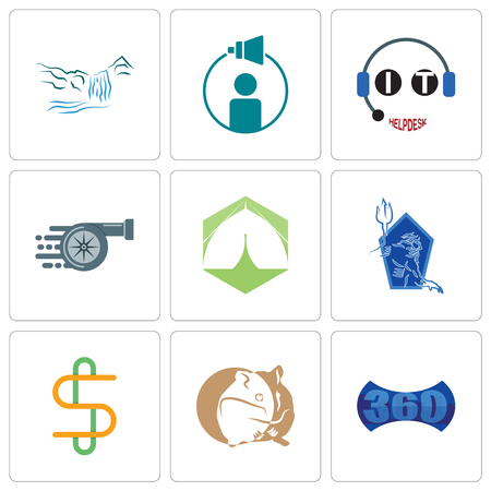 Set Of 9 simple editable icons such as 360 image, hamster, double s, neptune, marquee, turbo, it helpdesk, campaign management, waterfall, can be used for mobile, web