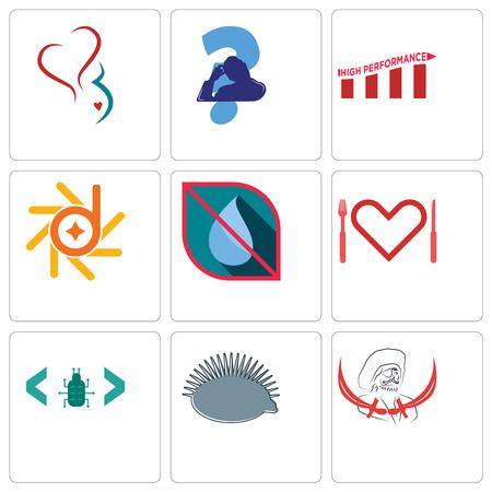 Ensemble de 9 icônes modifiables simples telles que pirate, hérisson, bug logiciel, appétit, pas d'eau, d-star, haute performance, tête de grattage, gynécologie, peut être utilisé pour mobile, web
