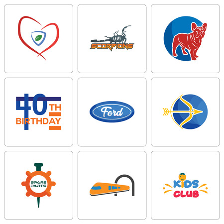 Set Of 9 simple editable icons such as kids club, train, spare parts, sagittarius, f, 40th birthday, french bulldog, scorpions, insurance, can be used for mobile, web Illustration