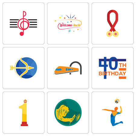 Set Of 9 simple editable icons such as volley, welder, no.1, 40th birthday, train, sagittarius, cancer awareness, welcome back, treble clef, can be used for mobile, web