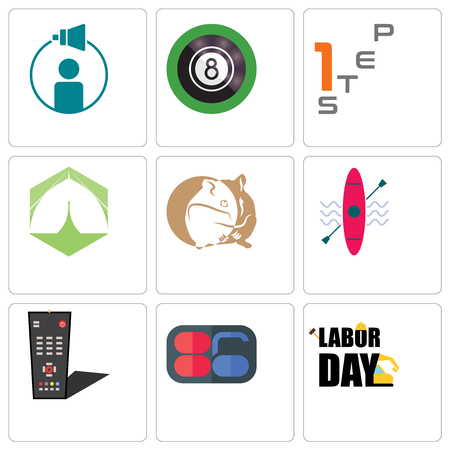 Set Of 9 simple editable icons such as labor day, 86, tv remote, kayak, hamster, marquee, step 1, 8 ball pool, campaign management, can be used for mobile, web Illustration