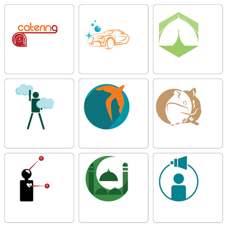 Set Of 9 simple editable icons such as campaign management, masjid, symptoms, hamster, swift, ambition, marquee, carwash, catering, can be used for mobile, web