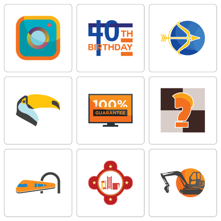Set Of 9 simple editable icons such as digger, fire station, train, chess knight, 100 guarantee, toucan, sagittarius, 40th birthday, camera, can be used for mobile, web Illustration