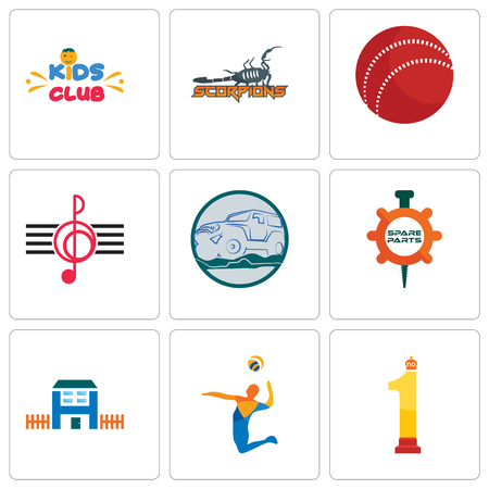Set Of 9 simple editable icons such as no.1, volley, h house, spare parts, offroad, treble clef, cricket ball, scorpions, kids club, can be used for mobile, web Illustration