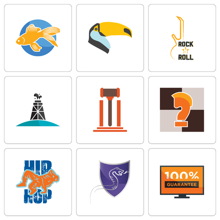 Set Of 9 simple editable icons such as 100 guarantee, viper, hip hop, chess knight, legal, oil derrick, rock n roll, toucan, goldfish, can be used for mobile, web  イラスト・ベクター素材