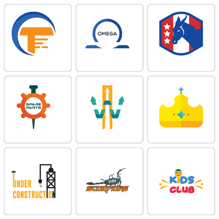 Set Of 9 simple editable icons such as kids club, scorpions, under construction, royal, w with arrow, spare parts, democratic party, omega, traders, can be used for mobile, web 일러스트