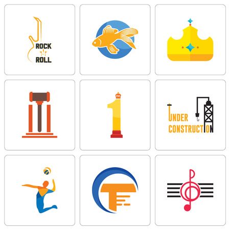 Set Of 9 simple editable icons such as treble clef, traders, volley, under construction, no.1, legal, royal, goldfish, rock n roll, can be used for mobile, web Ilustrace