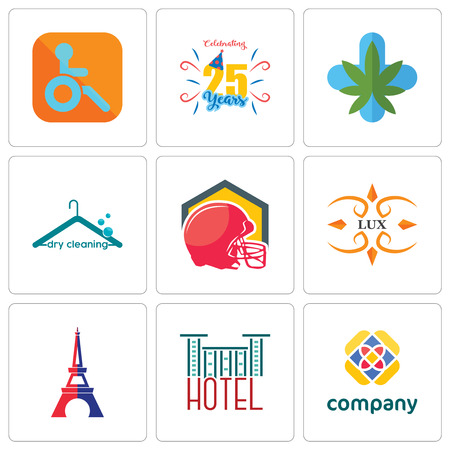 Set Of 9 simple editable icons such as free, hotel, eiffel tower, lux, football helmet, dry cleaning, medical marijuana, celebrating 25 years, handicapped, can be used for mobile, web