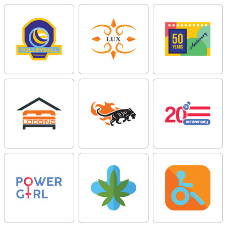 Set Of 9 simple editable icons such as handicapped, medical marijuana, girl power, 20 anniversary, black panthers, lodging, 50 years lux, volleyball tournament, can be used for mobile, web