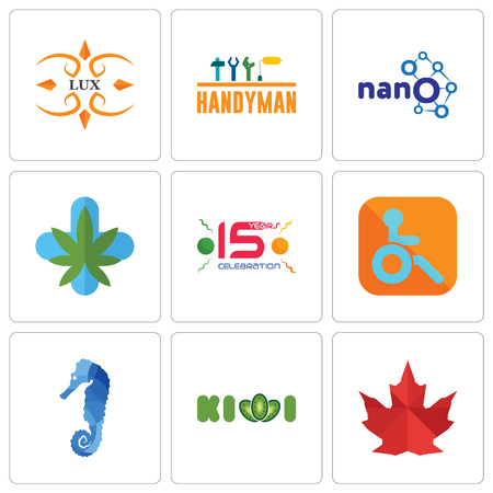Set Of 9 simple editable icons such as canada leaf, kiwi, sea horse, handicapped, 15 years celebration, medical marijuana, nano, handyman, lux, can be used for mobile, web