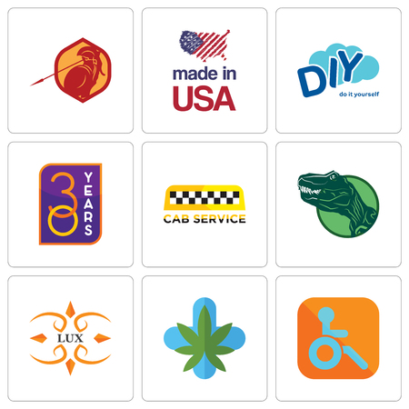 Set Of 9 simple editable icons such as handicapped, medical marijuana, lux, dino, cab service, 30 year, diy, made in usa, sparta, can be used for mobile, web