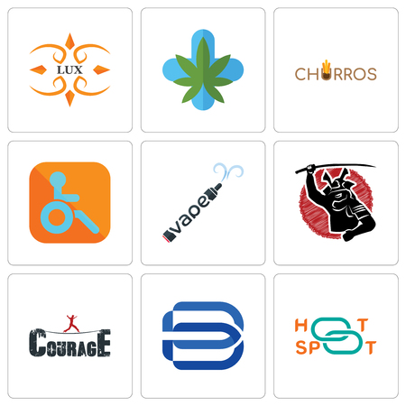 Set Of 9 simple editable icons such as hotspot, minimal b, courage, vape, handicapped, churros, medical marijuana, lux, can be used for mobile, web