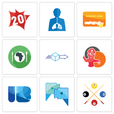 Set Of 9 simple editable icons such as snooker, video call, ib, pirate mascot, dispatch, hunger, scratch card, inflammation, 20% off, can be used for mobile, web