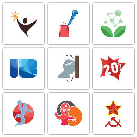 Set Of 9 simple editable icons such as communism, pirate mascot, handball, 20% off, frustration, ib, antioxidant, store locator, lucky draw, can be used for mobile, web