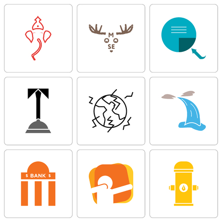 Set Of 9 simple editable icons such as fire hydrant, dab, bank branch, waterfall, earthquake, concierge, page turn, moose, ganesh, can be used for mobile, web