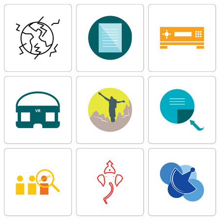 Set Of 9 simple editable icons such as telecom, ganesh, advisor, page turn, hiker, vr headset, set top box, specification, earthquake, can be used for mobile, web