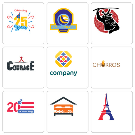 Set Of 9 simple editable icons such as eiffel tower, lodging, 20 anniversary, churros, free, courage, volleyball tournament, celebrating 25 years, can be used for mobile, web Illustration