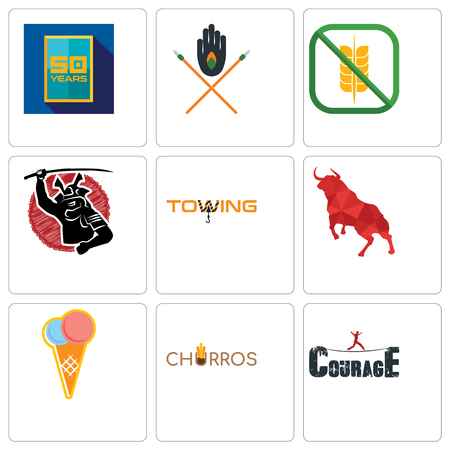 Set Of 9 simple editable icons such as courage, churros, icecream, bull, towing, gluten free, tribe, 50 year, can be used for mobile, web