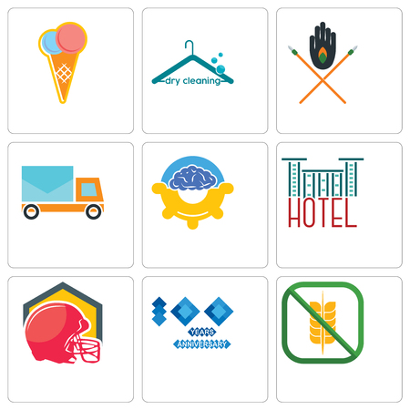Set Of 9 simple editable icons such as gluten free, 100 year anniversary, football helmet, hotel, program management, post car, tribe, dry cleaning, icecream, can be used for mobile, web Illustration