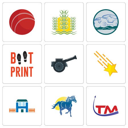 Set Of 9 simple editable icons such as trademark, mustang mascot, h house, shooting stars, cannon, boot print, offroad, paddy, cricket ball, can be used for mobile, web