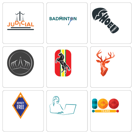 Set Of 9 simple editable icons such as 100 year, secretary, stag head, horse, tiara, shoe print, badminton, judicial, can be used for mobile, web