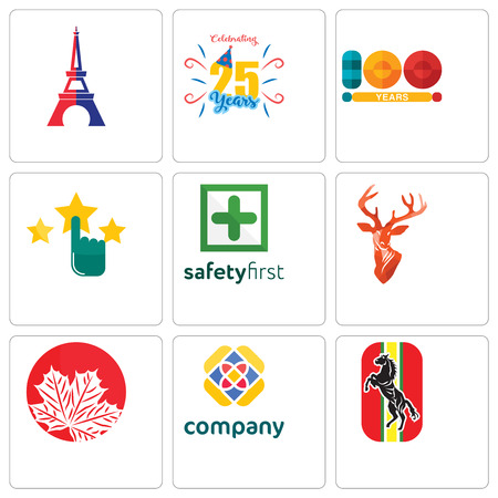 Set Of 9 simple editable icons such as horse, free, canadian leaf, stag head, safety first, customer satisfaction, 100 year, celebrating 25 years, eiffel tower, can be used for mobile, web
