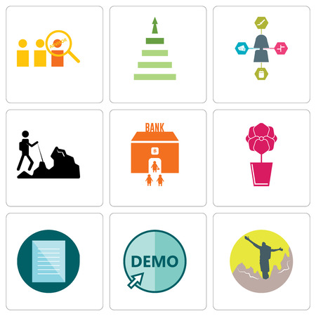 Set Of 9 simple editable icons such as hiker, demo, specification, orchid, bank branch, travel agent, next steps, advisor, can be used for mobile, web