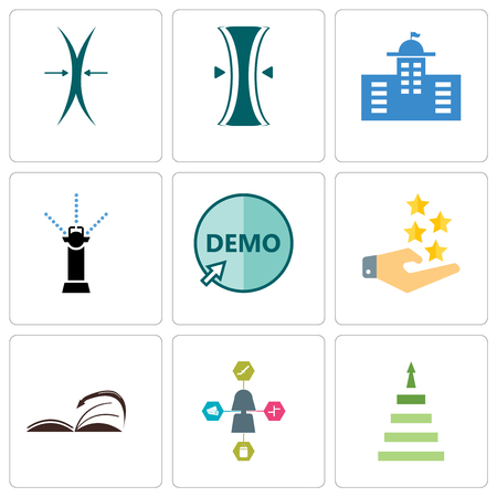 Set Of 9 simple editable icons such as next steps, travel agent, page turn, customer experience, demo, sprinkler, municipal, elastic, can be used for mobile, web
