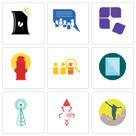 Set Of 9 simple editable icons such as hiker, ganesh, cell tower, specification, advisor, fire hydrant, adaptability, discussion board, bag of chips, can be used for mobile, web