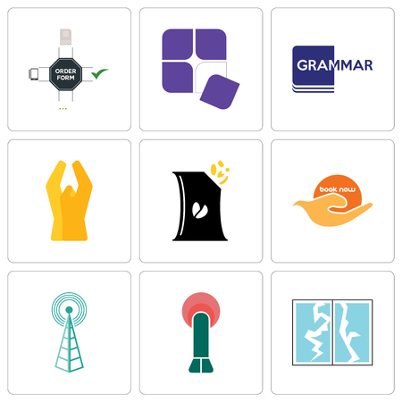 Set Of 9 simple editable icons such as broken glass, penetration, cell tower, book now, bag of chips, folded hands, grammar, adaptability, order form, can be used for mobile, web