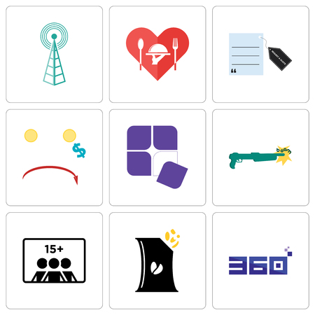 Set Of 9 simple editable icons such as 360 degree, bag of chips, number players, shotgun, adaptability, cost uction, request a quote, hospitality, cell tower, can be used for mobile, web
