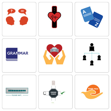 Set Of 9 simple editable icons such as book now, order form, buffering, distributor, car dealer, grammar, vocabulary, tracker, inquiry, can be used for mobile, web