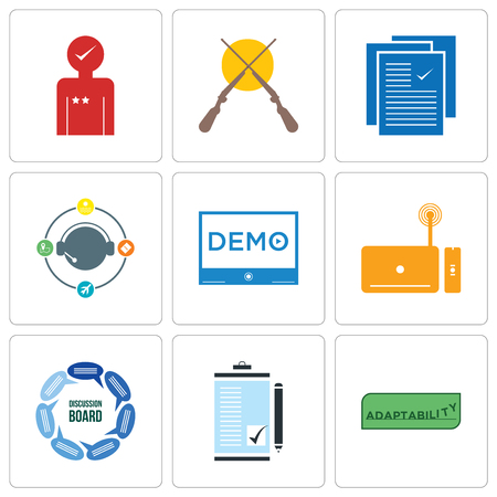 Set Of 9 simple editable icons such as adaptability, order form, discussion board, set top box, demo, travel agent, specification, shotgun, customer experience, can be used for mobile, web Ilustrace