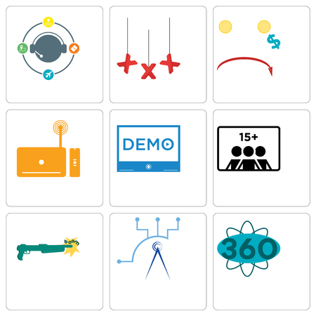 Set Of 9 simple editable icons such as 360 degree, telecom, shotgun, number of players, demo, set top box, cost uction, xxx, travel agent, can be used for mobile, web Illustration