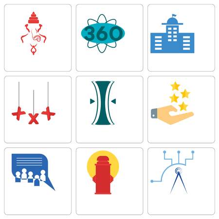 Set Of 9 simple editable icons such as telecom, fire hydrant, discussion board, customer experience, elastic, xxx, municipal, 360 degree, ganesh, can be used for mobile, web