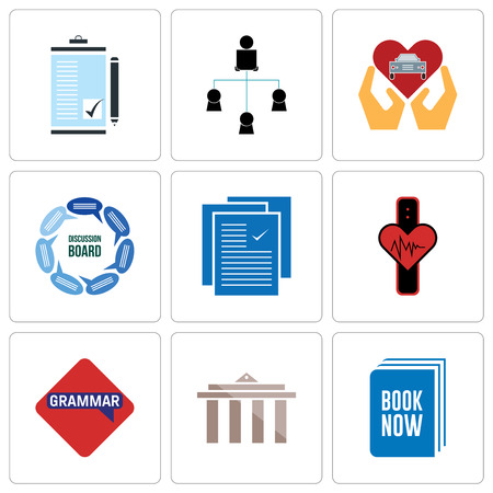 Set Of 9 simple editable icons such as book now, municipality, grammar, tracker, specification, discussion board, car dealer, distributor, order form, can be used for mobile, web