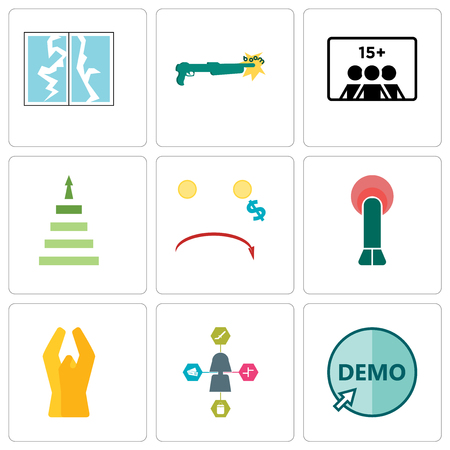 Set Of 9 simple editable icons such as demo, travel agent, folded hands, penetration, cost uction, next steps, number of players, shotgun, broken glass, can be used for mobile, web