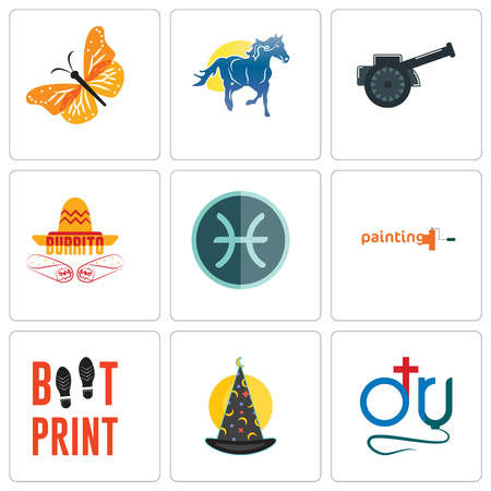 Set Of 9 simple editable icons such as dr., wizard hat, boot print, painting company, pisces, burrito, cannon, mascot, monarch butterfly, can be used for mobile, web Illustration