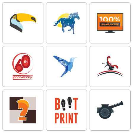 Set Of 9 simple editable icons such as cannon, boot print, chess knight, scorpion, colibri, 60th anniversary, 100 guarantee, mustang mascot, toucan, can be used for mobile, web