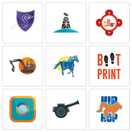 Set Of 9 simple editable icons such as hip hop, cannon, camera, boot print, mustang mascot, digger, fire station, oil derrick, viper, can be used for mobile, web Illustration
