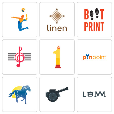 Set Of 9 simple editable icons such as law, cannon, mustang mascot, pinpoint, no.1, treble clef, boot print, linen, volley, can be used for mobile, web  イラスト・ベクター素材