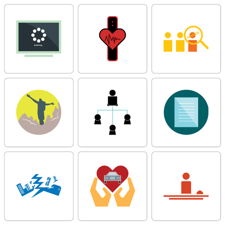 Set Of 9 simple editable icons such as hospitality, car dealer, earthquake, specification, distributor, hiker, advisor, tracker, buffering, can be used for mobile, web