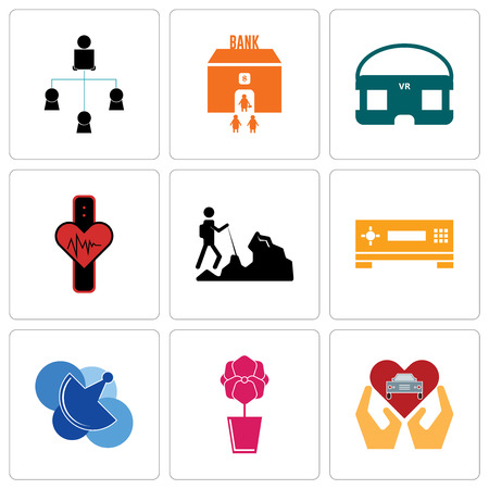 Set Of 9 simple editable icons such as car dealer, orchid, telecom, set top box, hiker, tracker, vr headset, bank branch, distributor, can be used for mobile, web