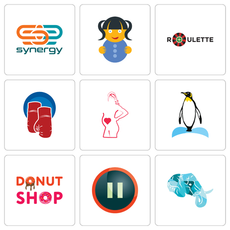 Set Of 9 simple editable icons such as elephant head, pause, donut shop, penguin, maternity, boxing gloves, roulette, doll, synergy, can be used for mobile, web Illustration