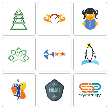 Set Of 9 simple editable icons such as synergy, police badge, volleyball team, penguin, triple, holistic, doll, speedometer, ever tree, can be used for mobile, web