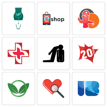 Set Of 9 simple editable icons such as ib, cholesterol, eco club, 20% off, execution, image of  cross, pirate mascot, eshop, abortion, can be used for mobile, web