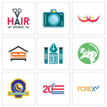 Set Of 9 simple editable icons such as 20 anniversary, volleyball tournament, moose, educational institute, lodging, cancer, dslr, hair studio, can be used for mobile, web