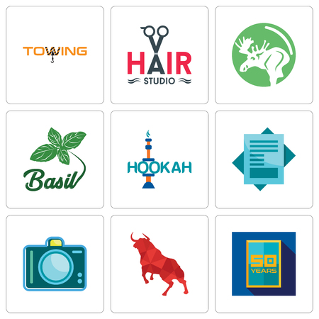 Set Of 9 simple editable icons such as 50 year, bull, dslr, statement, hookah, basil, moose, hair studio, towing, can be used for mobile, web